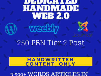 5 Manual Web 2.0 Creation with Handmade Content +250 Tier 2 PBN