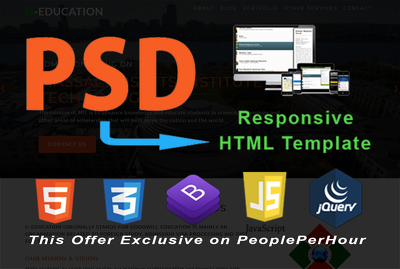 Convert PSD to Responsive HTML 5  web-page or Email Template