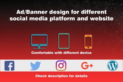 Design banner/ads for your different social media platform