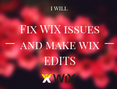 Fix Wix Issues and Make Wix Edits