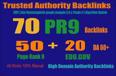 Get 70 Backlinks 50 PR9 +20 EDU/GOV 80+ DA High Quality SEO