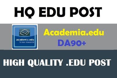 Write and post on Academia.edu DA 90 EDU blog