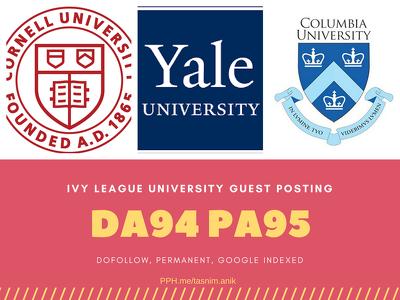 Guest post on education niche DA90+ blog - cornell/columbia/yale