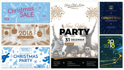 Design an eye-catching Christmas card, flyer or party poster