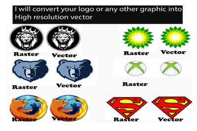 Convert any raster logo or graphic to high resolution vector