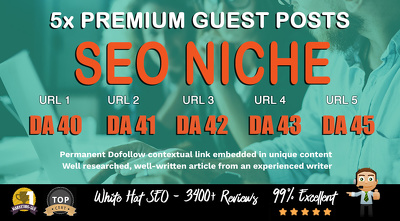5X High DA 40+ Guest Post *SEO Niche* Blogger Outreach