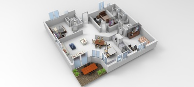 Convert your 2d floor plan into 3d realistic floor plan