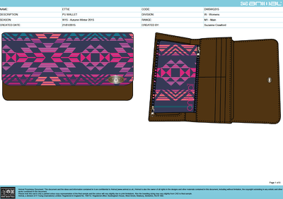Create a CAD design of a wallet/purse and a detailed tech pack