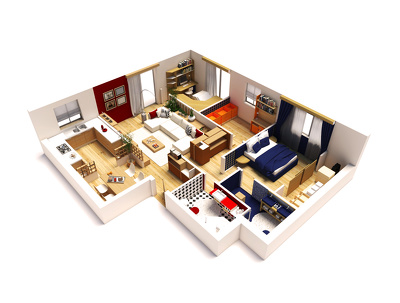 Convert your 2d plan to 3D rendered plans