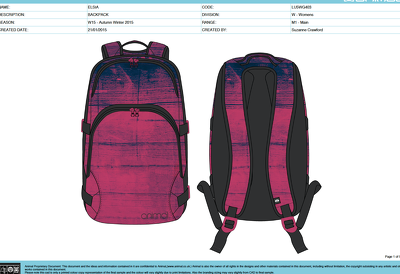 Create a CAD design of a backpack and a detailed tech pack
