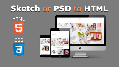 Convert any Sketch/PSD to HTML & CSS (Device Responsive)