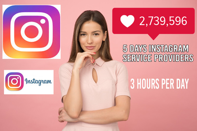 5 Days instagram Accounts Management, 3 Hours Per Day