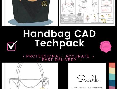 Design a handbag/backpack specification sheet (tech pack)