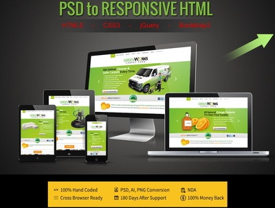 Convert your PSD to Responsive HTML5/CSS3(Home Page,50% discount