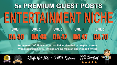 5X High DA 40+ Guest Post *Entertainment* Blogger Outreach