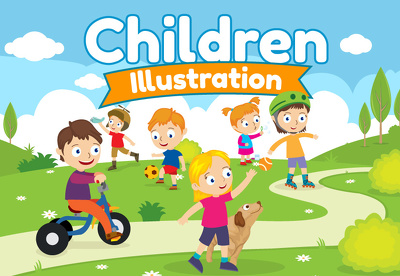 Create cute flat style children illustration