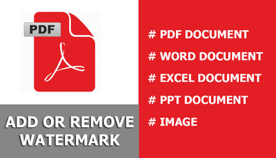 Add or remove watermark from PDF document 100 page very fast