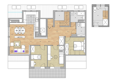 Provide a colored CAD Floor Plan