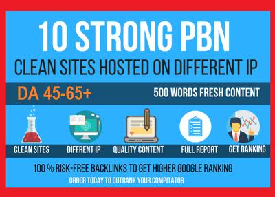 10 Permanant Manual High DA 30+ Homepage Dofollow PBN Backli