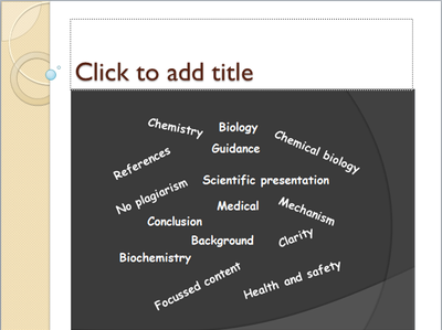 Prepare 15 min scientific presentation on Chemistry and biology