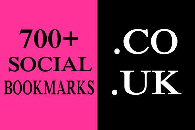 700+ HQ. CO. UK Social Bookmarks Backlinks for your Website