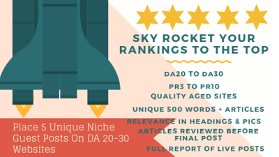 Place 5 Unique Niche Guest Blog Posts On DA20-30 Websites