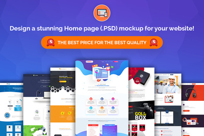 Design a Bespoke Home page (.PSD) mockup for your website