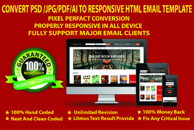 Convert PSD/JPG/PDF/AI to Responsive HTML Email Template