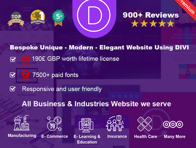 Design and develop website in DIVI with lifetime license
