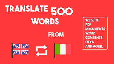 Translate 500 words from English/Italian to Italian/English