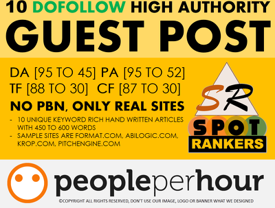 Write Publish 10 dofollow Authority Guest Post DA[95-45]-UPDATED