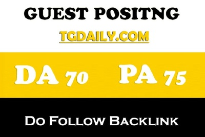 Publish a guest post on TGDaily.com DA 70 PA 75