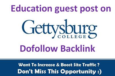 Publish Education guest post on Gettysburg.edu DA 68