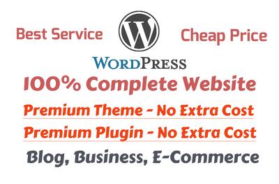 Build Complete Wordpress Site With Premium Theme