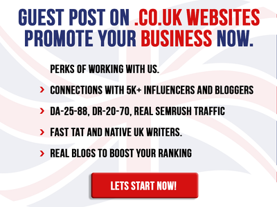 Provide you Guest Post on High DA & DR .co.uk blogs
