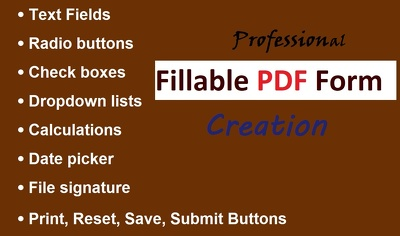 Design professional Fillable PDF Form and interactive form