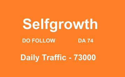 Provide you Guest Post on Selfgrowth with Do Follow link Da 74