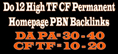 Do 25 High TF CF Permanent Homepage PBN Backlinks
