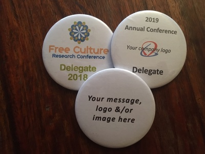Create and supply 30 x 58mm pin back delegate/conference badges