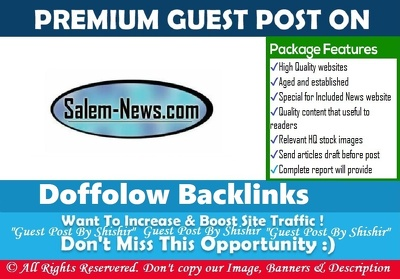 Publish a guest post on Salem-News - Salem-News.com - DA56, PA56