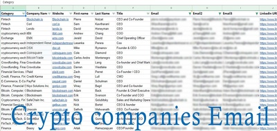 Provide 100  Crypto Companies Decision Makers Email List