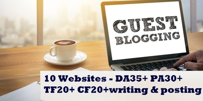 Write and publish guest post on 10 DA 30+ Websites