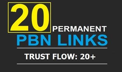 20 Manual High TF CF DA PA 30+ to 30 Dofollow PBN Backlinks