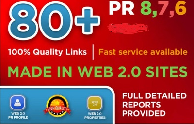 Create 80 Real High Pr BACKLINKS, Dofollow PR8, PR9