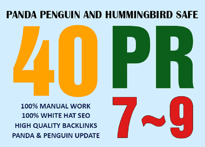 Manually create 40 PR9-7 Hummingbird Safe White Hat SEO Backlink