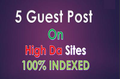 Write and publish 5 guest post DA 90+ sites