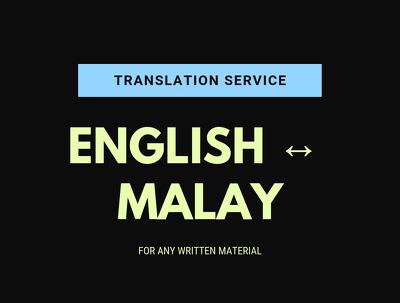 Manually translate 500 words of English to Malay and vice versa