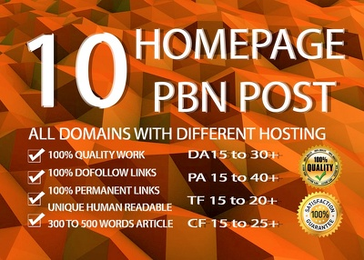 10 Homepage Manual Pbn Post Dofollow Backlinks High Quality
