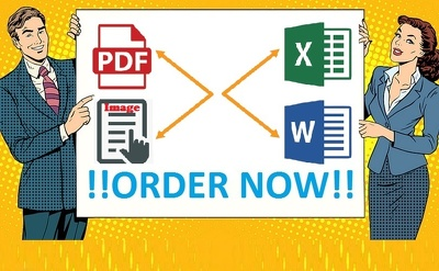 Convert 5 Normal PDF/Image file to Word/Excel format