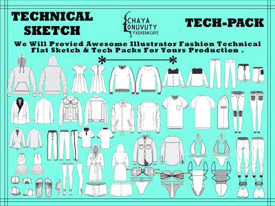 Create Technical Flat Sketch And Tech Pack For Clothing Line